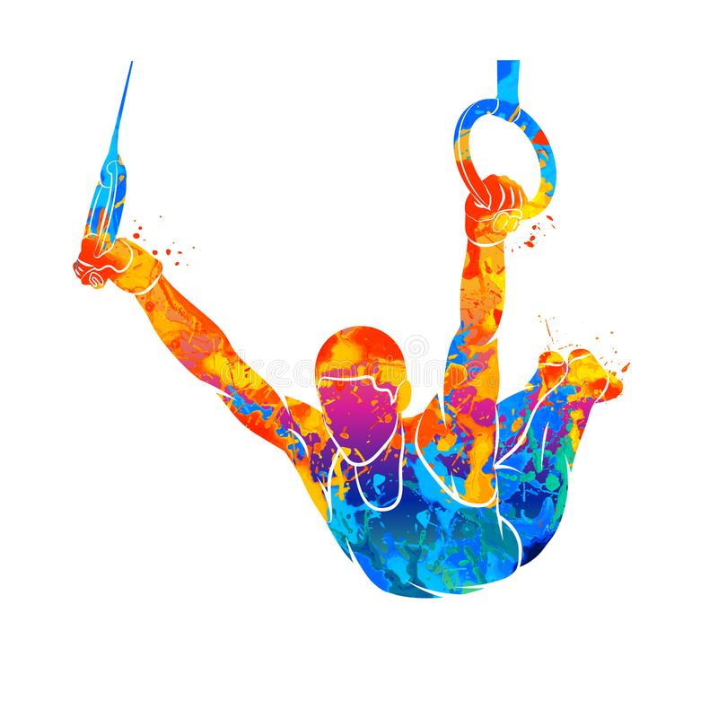 Abstract gymnast on rings. From splash of watercolors. Vector illustration of paints stock illustration