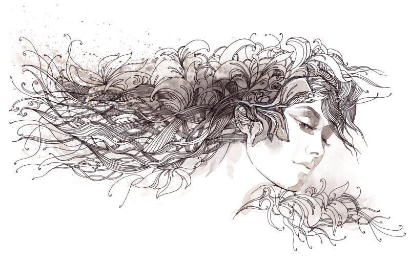 Abstract hair royalty free illustration