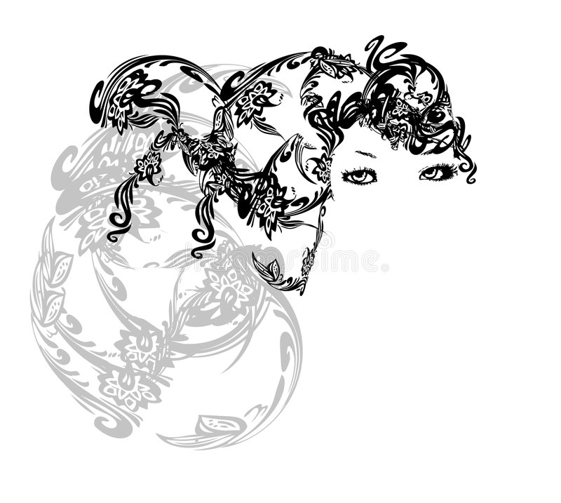 Abstract Hair Girl. An illustration of a pretty girl with abstract illustrated hair