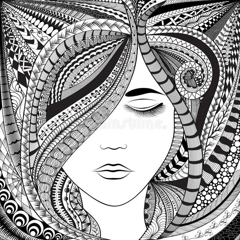 Abstract Line Art Design : Abstract hair girl stock vector illustration of face