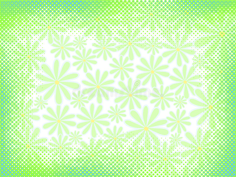Abstract halftone background. Vector abstract light floral background with halftone elements stock illustration