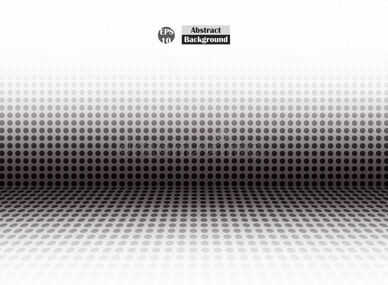 Abstract of halftone black dot of empty perspective, simple presentation. vector illustration