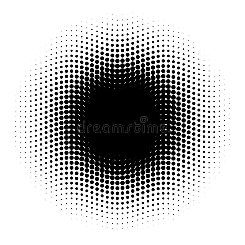 Abstract halftone circle of dots in wavy arrangement. Black and white vector illustration element stock illustration