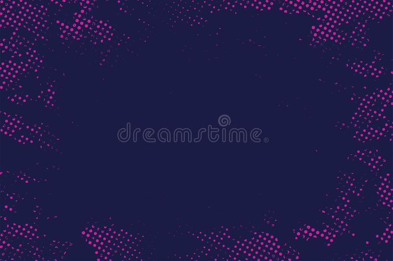 Abstract halftone dotted background. Gradient halftone pattern in deep blue and purple color. Modern stylized texture stock illustration