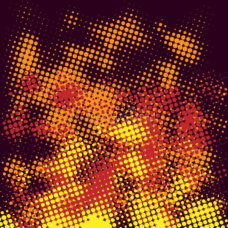 Abstract halftone fire. Abstract halftone fire on a dark background. Vector illustration stock illustration