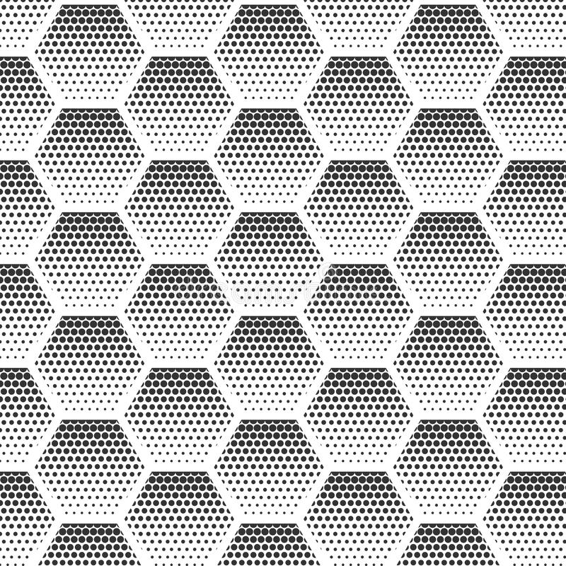 Abstract halftone, minimalist seamless pattern on white background from hexagon. Gradient halftone pop-art retro style royalty free illustration