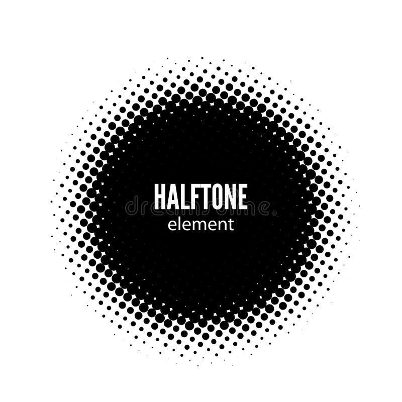 Abstract halftone vector design element. Black dots frame. Abstract halftone vector design element. Black dots round frame vector illustration