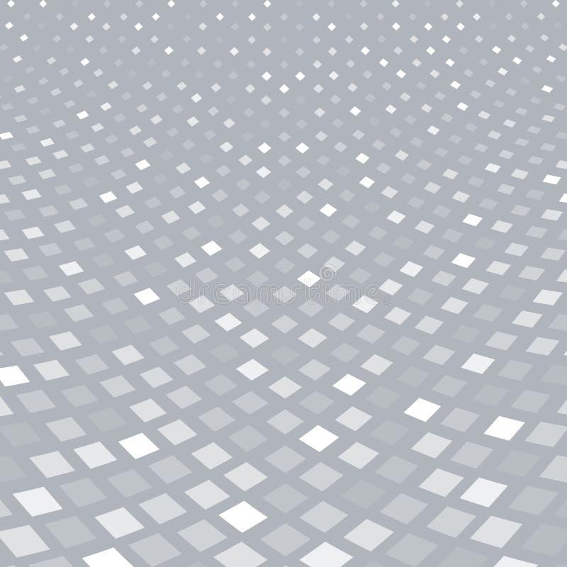 Abstract halftone wit vierkant patroonperspectief op grijze backg stock illustratie
