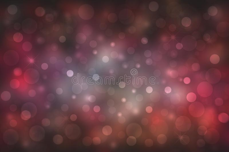 Abstract Halloween background. Abstract blurred dark purple brown gradient pink background texture with bokeh lights and stars. Template for Happy Halloween or stock illustration
