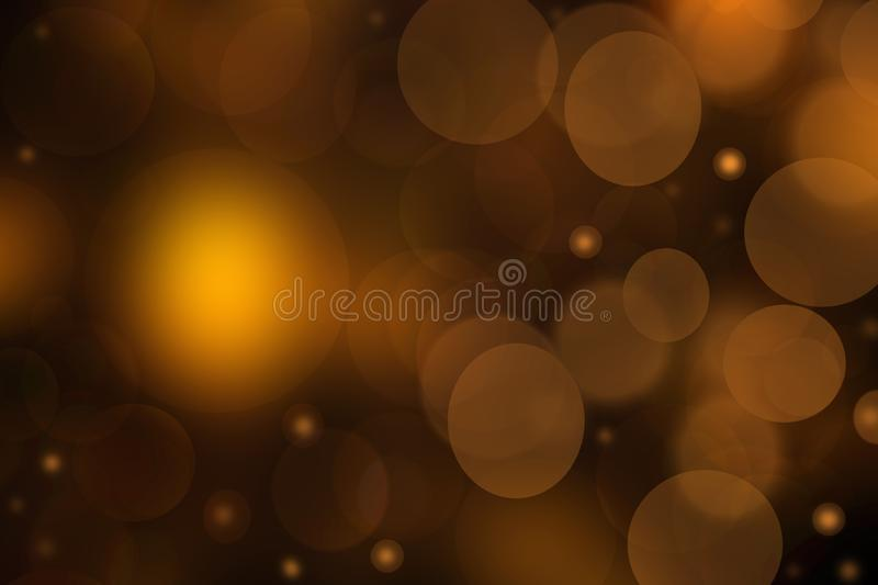 Abstract Halloween background. Abstract blurred dark gold brown gradient yellow background texture with bokeh lights and stars. Template for Happy Halloween or royalty free illustration