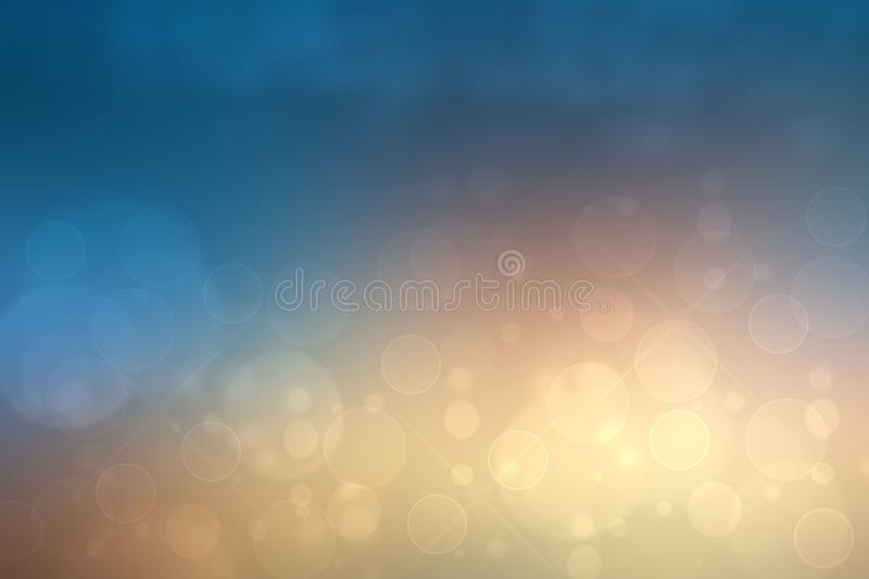 Abstract Halloween background. Abstract blurred orange brown gradient dark blue background texture with bokeh lights and stars. Template for Happy Halloween or vector illustration