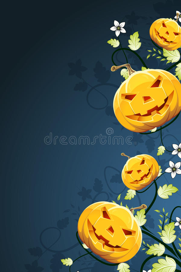 Abstract Halloween Background with Flowers vector illustration