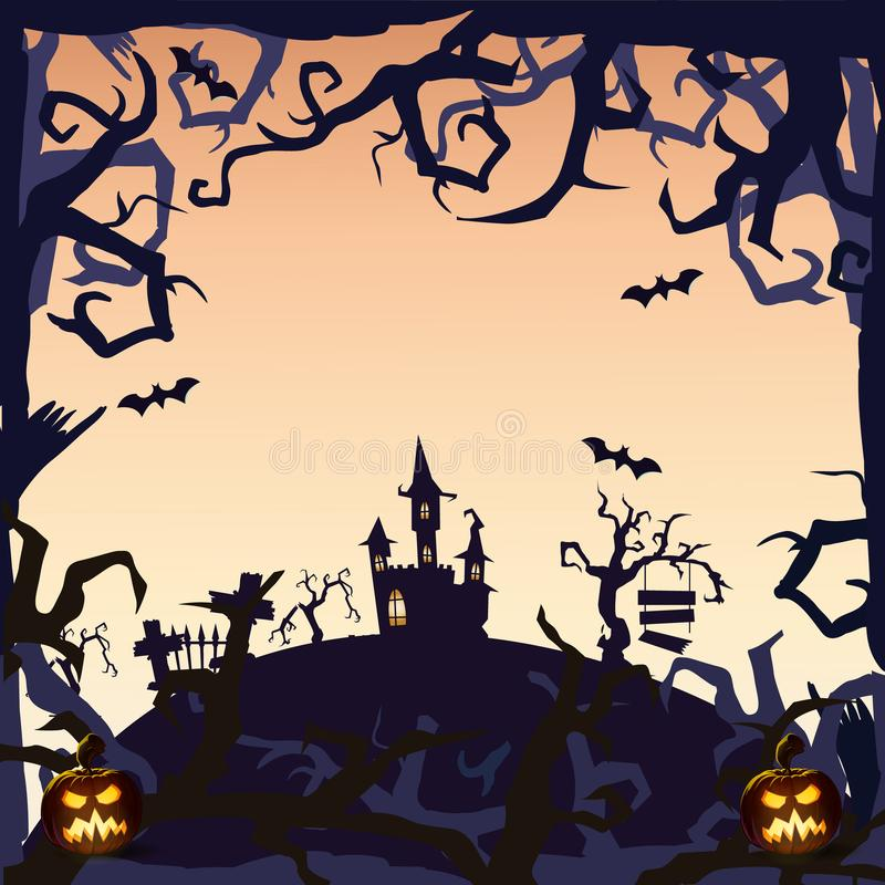 Ghost Castle - Halloween background royalty free stock photography