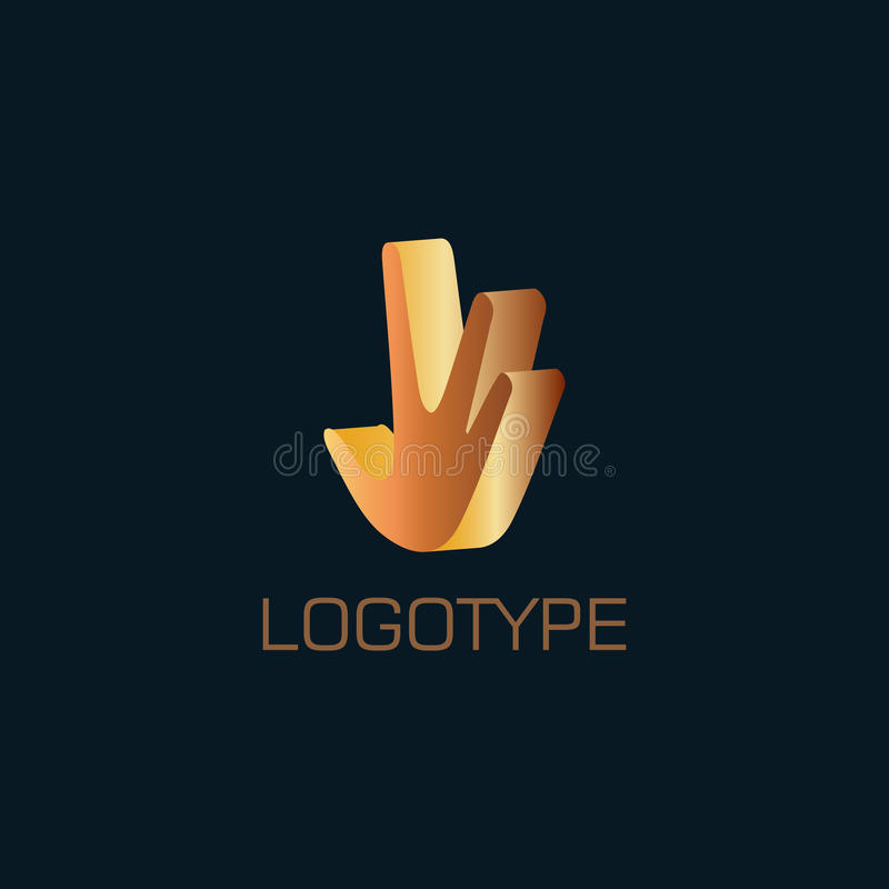 Abstract hand 3d logo stock illustration