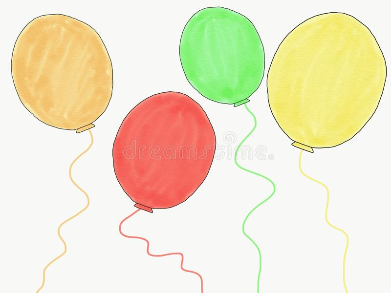 Abstract hand draw doodle colorfull of red, green, yellow, brown balloons isolated, illustration, copy space for text, watercolor royalty free illustration