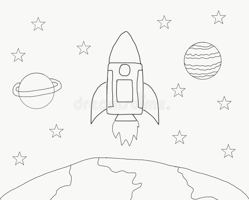 Abstract Hand Draw Doodle Line Rocket In Space World With Star Illustration For Children Book Watercolor Paint Style Digital Ar Stock Illustration Illustration Of Doodle Concept 126597623