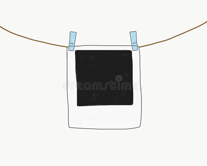 Abstract hand draw doodle sketch polaroid frame isolated with rope on white background,illustration, copy space for text, watercol. Or paint style, digital art stock photography