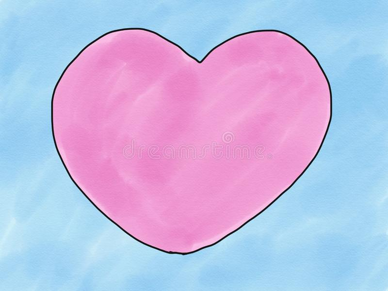 Abstract hand draw sketch doodle pink heart shape on blue background, illustration, watercolor paint style, digital art. Children cartoon book style stock image