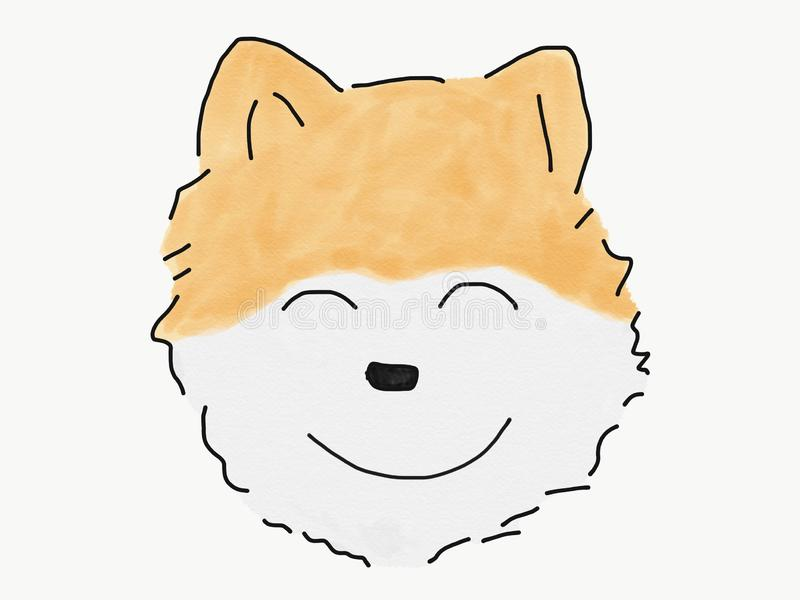 Abstract hand draw sketch doodle pomeranian dog smile face isolate, illustration, watercolor paint style, digital art royalty free illustration