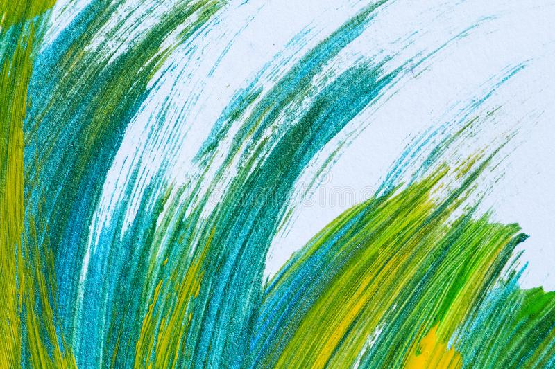 Abstract hand drawn acrylic painting creative art background.Closeup shot of brushstrokes colorful acrylic paint on canvas with b. Rush strokes overlap of color royalty free stock photo