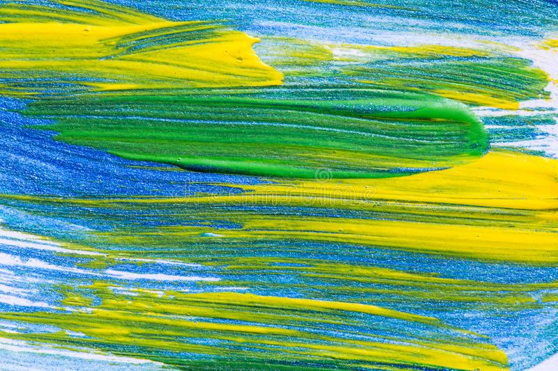 Abstract hand drawn acrylic painting creative art background.Closeup shot of brushstrokes colorful acrylic paint on canvas with b royalty free stock images