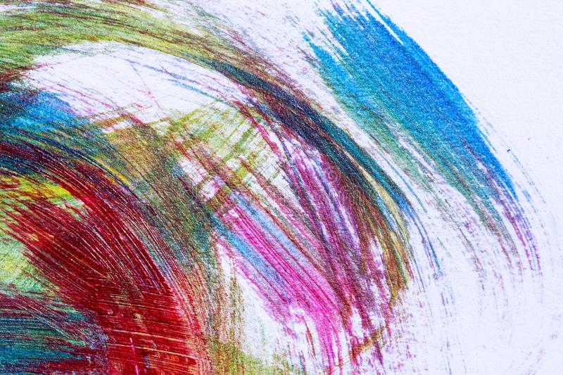 Abstract hand drawn acrylic painting creative art background.Closeup shot of brushstrokes colorful acrylic paint on canvas with b stock image