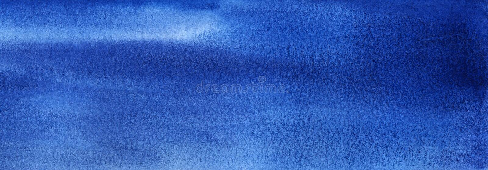 Abstract hand-drawn background in blue shades. Watercolor texture with granulation. Multi-colored stripes and ripples with white. Blurry splashes. Brush stroked vector illustration