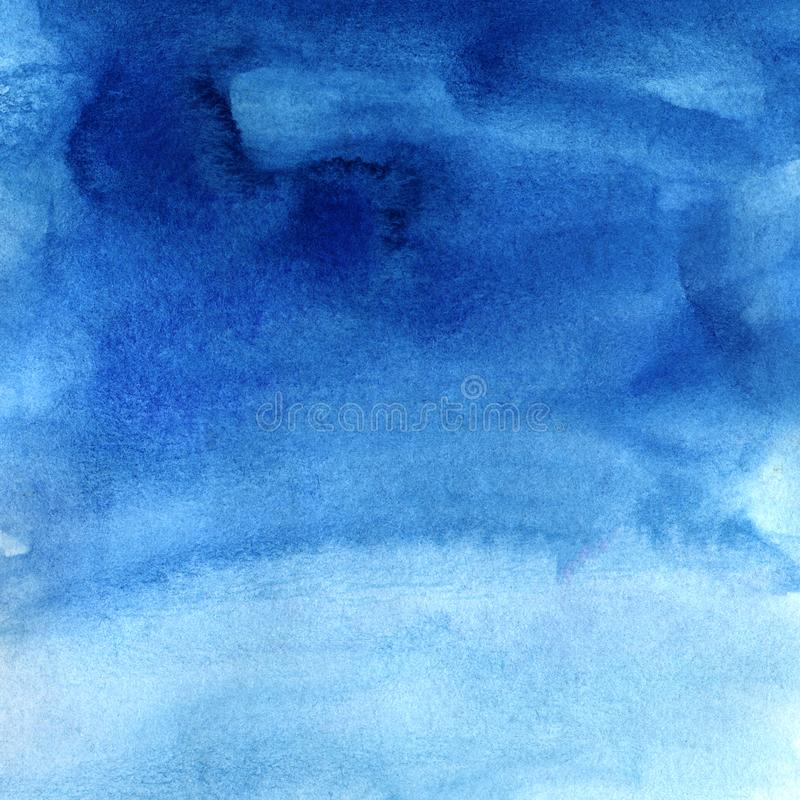 Abstract hand drawn background of shining blue sky with clouds. Watercolor texture with granulation. Brush stroke. Illustration of azure and gently blue stock illustration