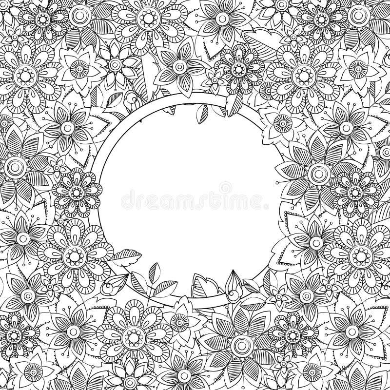 Abstract hand drawn botanical style frame. Doodle art decorative border stock illustration