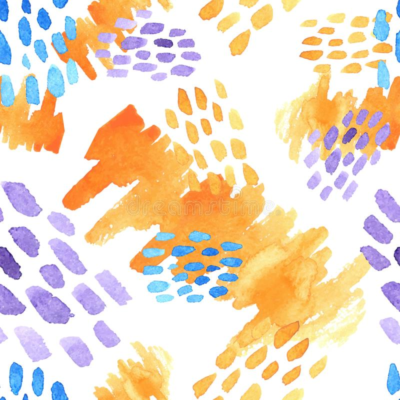 Abstract hand drawn brush strokes and paint splashes textures, seamless watercolor pattern stock illustration