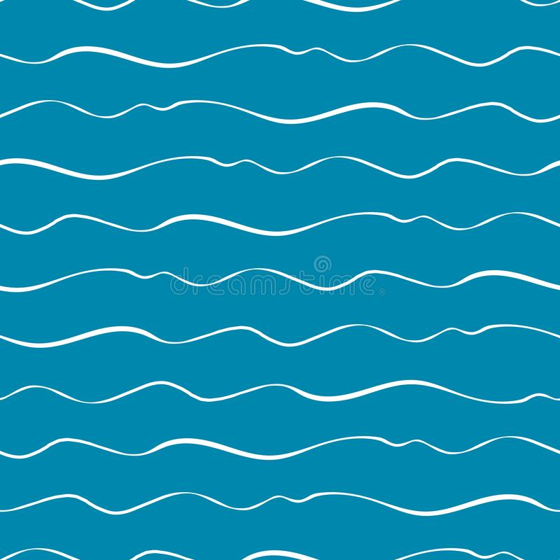 Abstract hand drawn doodle sea waves. Seamless geometric vector pattern on ocean blue background. Great for marine. Themed products, spa, wellness, beauty royalty free illustration