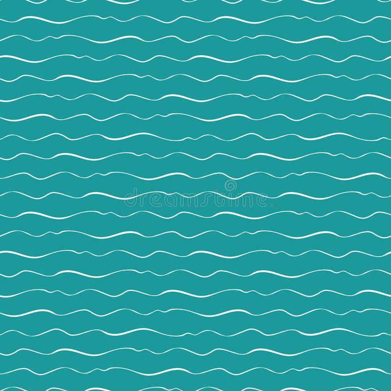 Abstract hand drawn doodle sea waves with varying thickness. Seamless geometric vector pattern on ocean blue background vector illustration