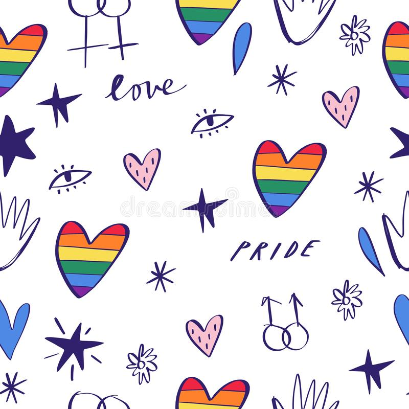 Abstract hand drawn doodles seamless pattern. Pride, love and peace lettering, rainbow hearts. Gay parade wallpaper. LGBTQ rights royalty free illustration