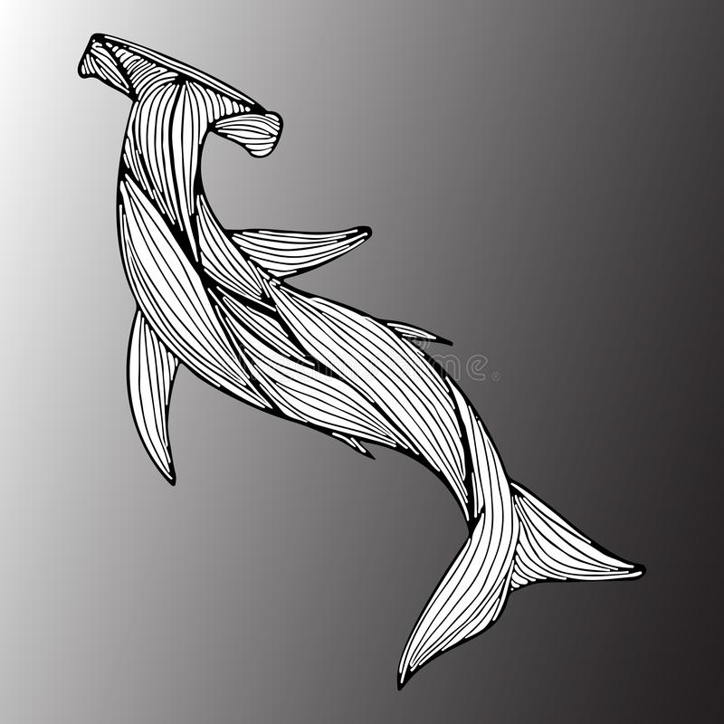 Abstract hand drawn giant hammer shark isolated on gray background.  illustration. Outline. Line art. Top view.  stock illustration