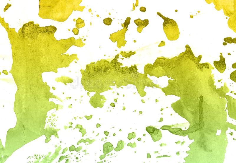 Abstract hand drawn green and yellow watercolor paint background, raster illustration stock illustration