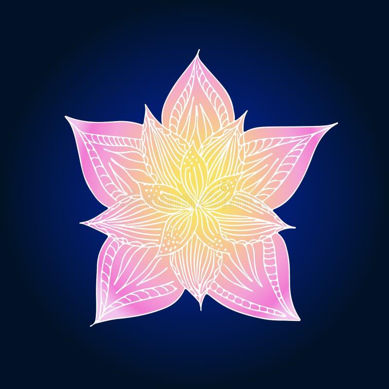 Abstract hand drawn lotus flower.  illustration. Line art. Top view. Abstract hand drawn lotus flower. illustration. Line art. Top view royalty free illustration