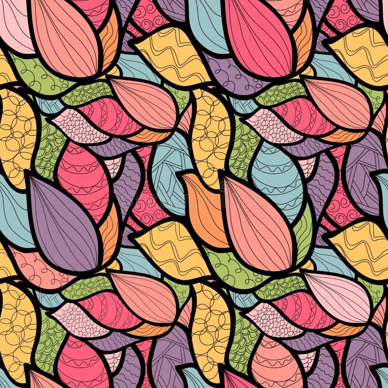 Abstract hand-drawn patroon met golven Unieke het kleuren boeksqu royalty-vrije illustratie