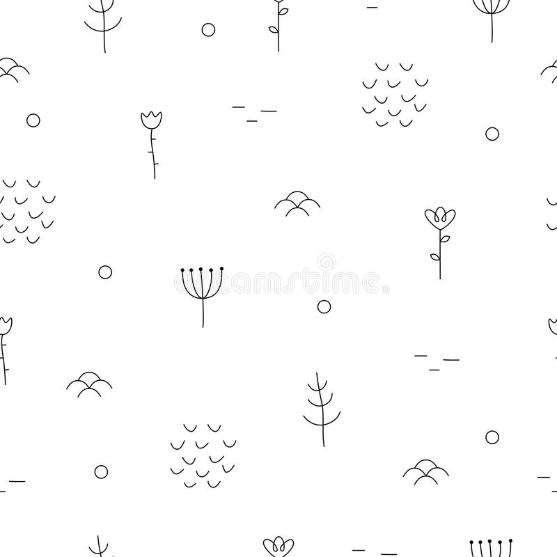 Abstract hand drawn pattern with floral and forest elements. vector illustration