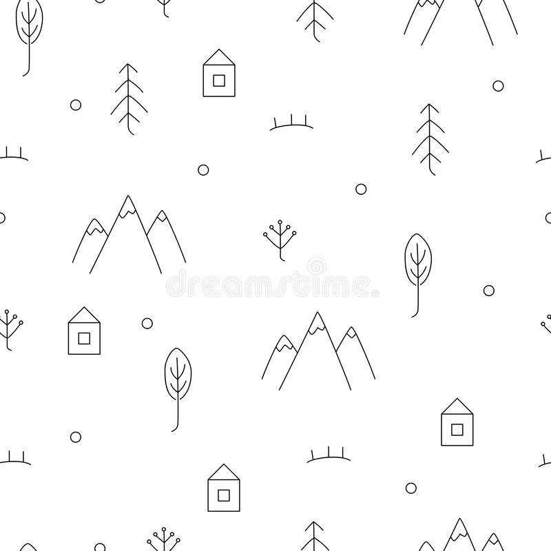 Abstract hand drawn pattern with floral and forest elements. royalty free illustration