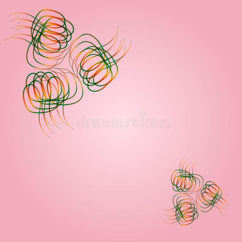 Abstract hand drawn pink background. Curls are orange and green vector illustration