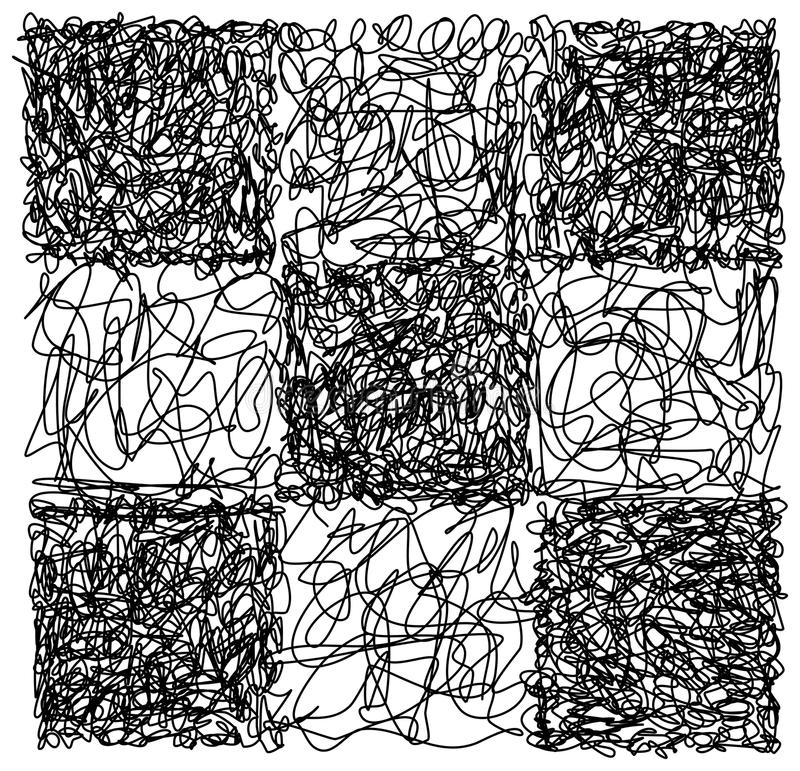 Abstract hand drawn scribble doodle checkerboard chaos pattern vector illustration