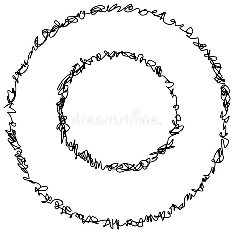 Abstract hand drawn scribble doodle circle stock illustration