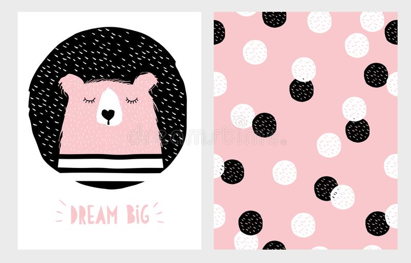 Abstract Hand Drawn Sleeping Bear Vector Illustration Set. royalty free illustration