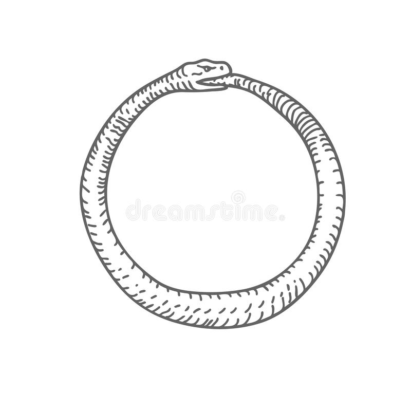 Abstract hand Drawn Snake Eating Tail Vector royalty free illustration