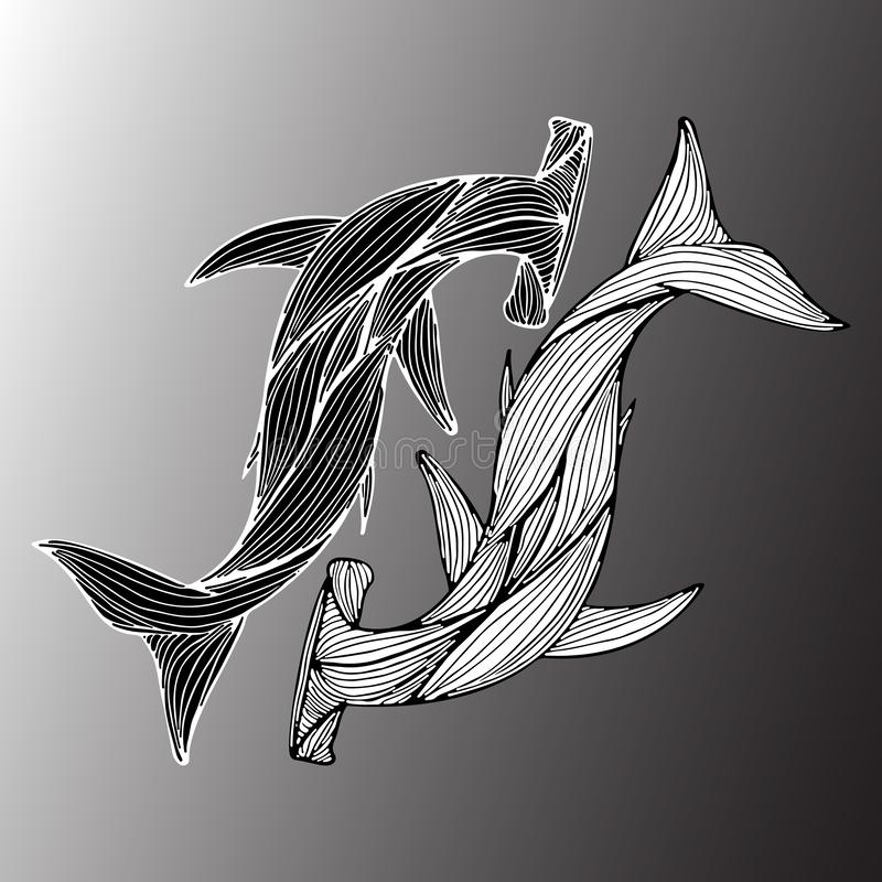 Abstract hand drawn of two giant hammer sharks isolated on gray background. Vector illustration. Outline. Line art. Top view stock illustration