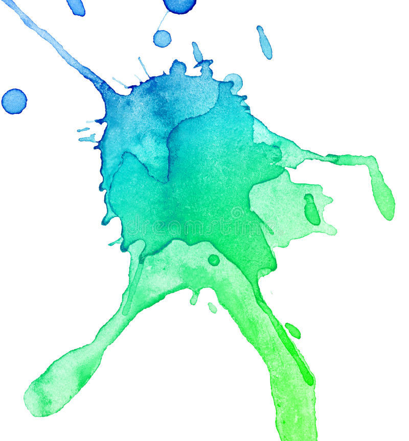 Abstract hand drawn watercolor blot royalty free illustration