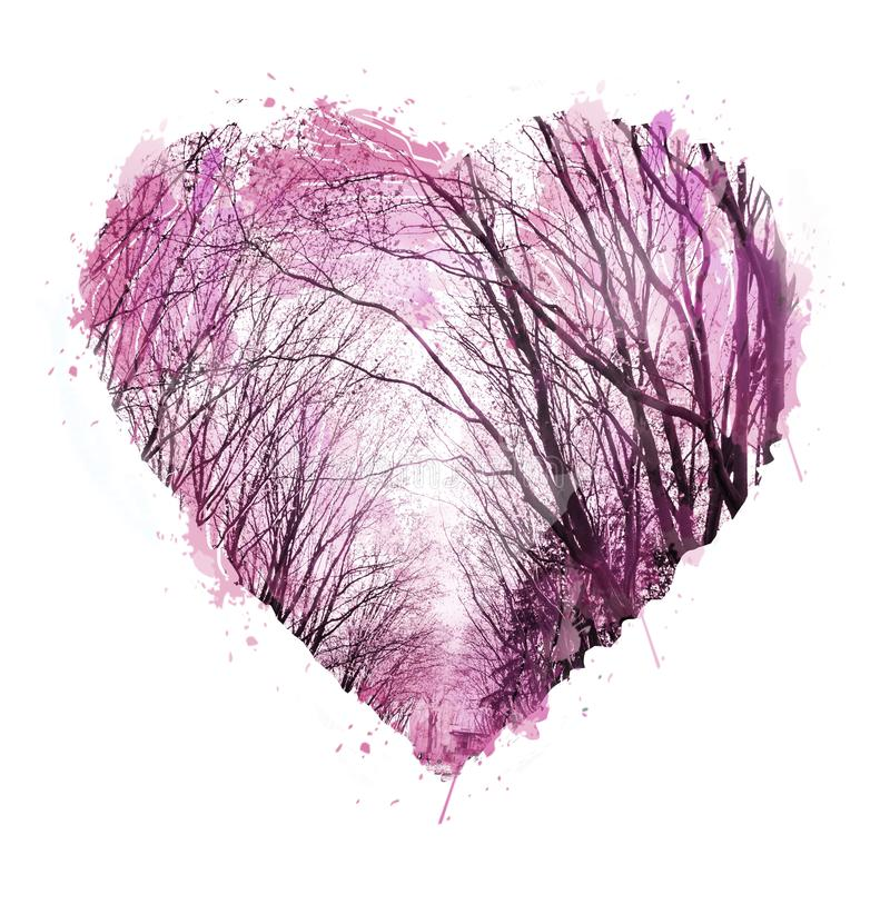 Abstract hand drawn. Watercolor heart. Valentine background. Love heart design. Photo collage with graphic silhouettes of trees stock images
