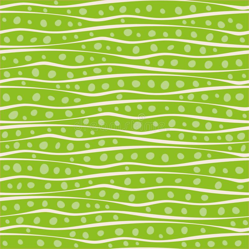 Abstract hand drawn wavy doodle lines and dots design in random placement. Vector seamless pattern on vibrant green. Background. Great for stationery, giftwrap royalty free illustration