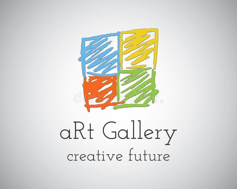 Abstract Hand Getrokken Art Gallery Logo-ontwerp stock illustratie