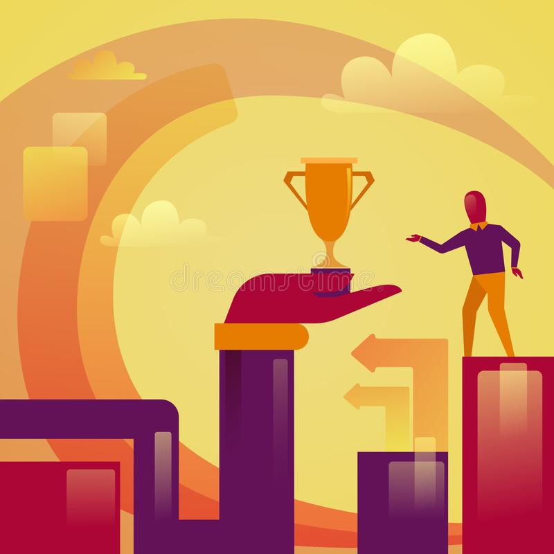 Abstract Hand Holding Golden Cup To Successful Business Man Winner Concept vector illustration